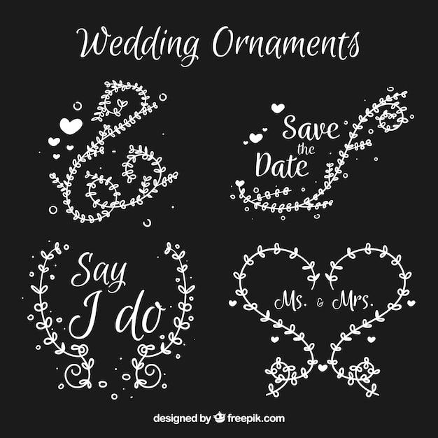 Hochzeitsverzierungen mit niedlichem stil Kostenlosen Vektoren