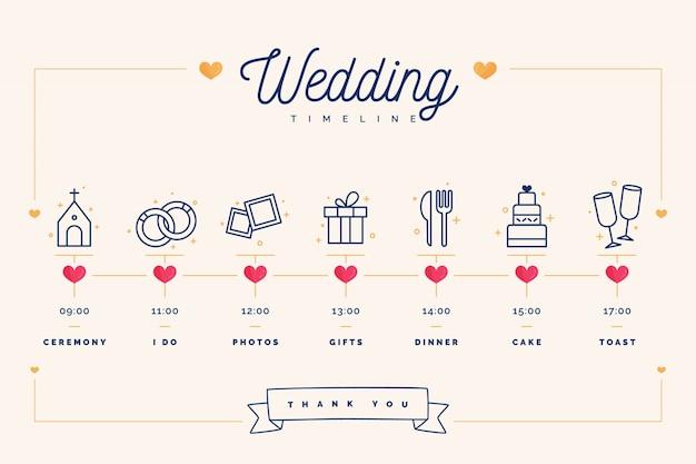 Hochzeitszeitleiste im linearen stil Kostenlosen Vektoren