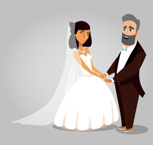 Hochzeitszeremonie-vektor-gruß-karten-konzept Premium Vektoren