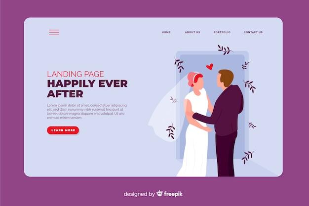 Hochzeitszielseite mit foto Kostenlosen Vektoren