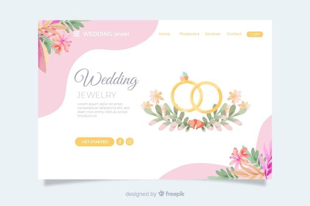 Hochzeitszielseite mit goldenen ringen Kostenlosen Vektoren