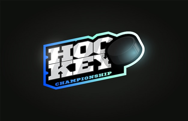 Hockey modernes profi-sport-logo im retro-stil Premium Vektoren