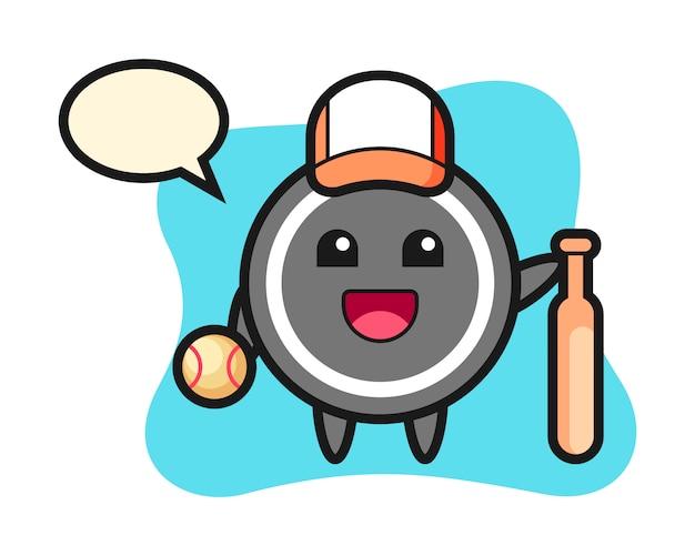 Hockey puck cartoon als baseballspieler Premium Vektoren