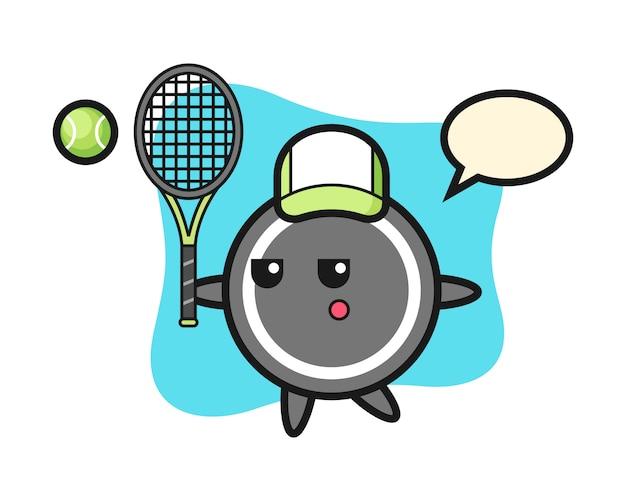 Hockey puck cartoon als tennisspieler Premium Vektoren