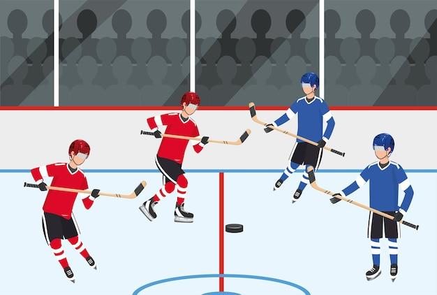 Hockey-spieler-team-wettbewerb mit ausrüstung Premium Vektoren