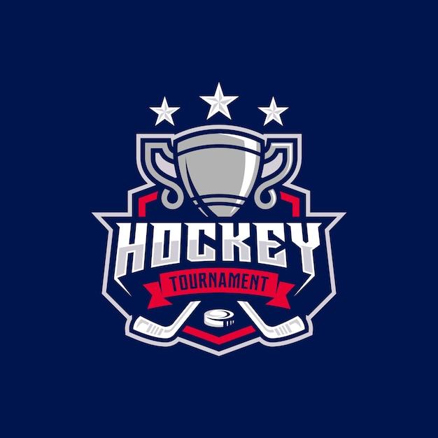Hockey turnier sport logo vorlage. Premium Vektoren