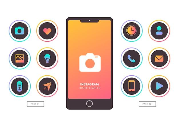 Höhepunkte von instagram-verlaufsgeschichten Kostenlosen Vektoren