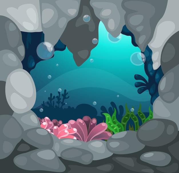 Höhle unter dem seehintergrundvektor Premium Vektoren