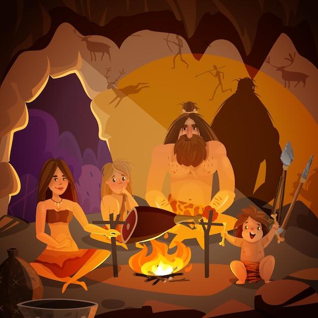 Höhlenbewohner-familien-karikatur-illustration Kostenlosen Vektoren