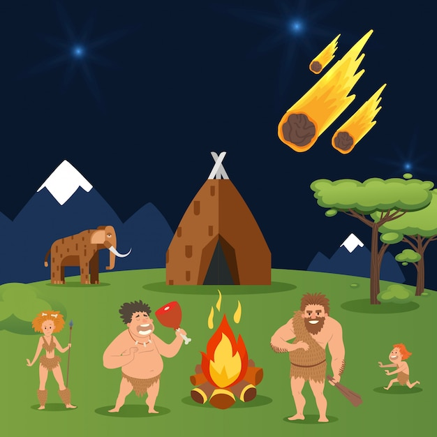 Höhlenfamilie, asteroidenfall bei haus-urmenschengruppenillustration. männer, frau und kind nahe natürlichem heißem lagerfeuer Premium Vektoren