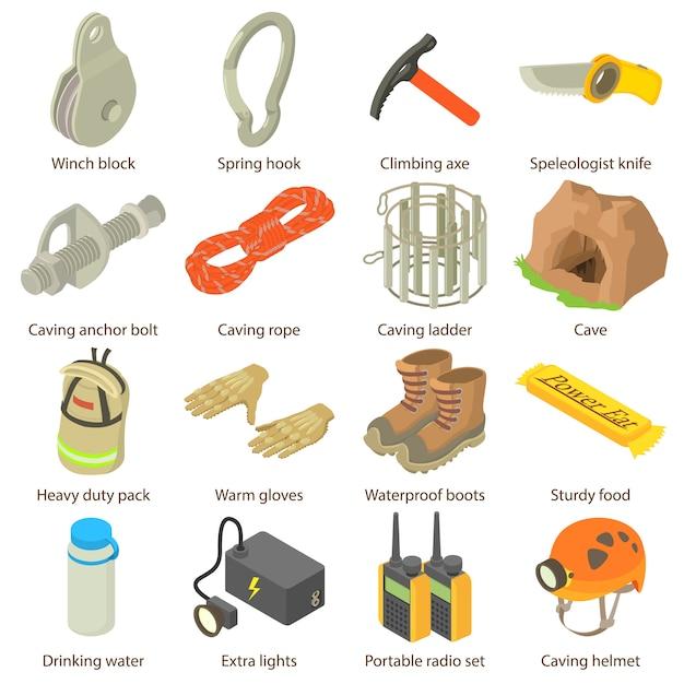 Höhlenforscher-ikonen eingestellt. isometrische illustration von 16 höhlenforscher-vektorikonen für netz Premium Vektoren