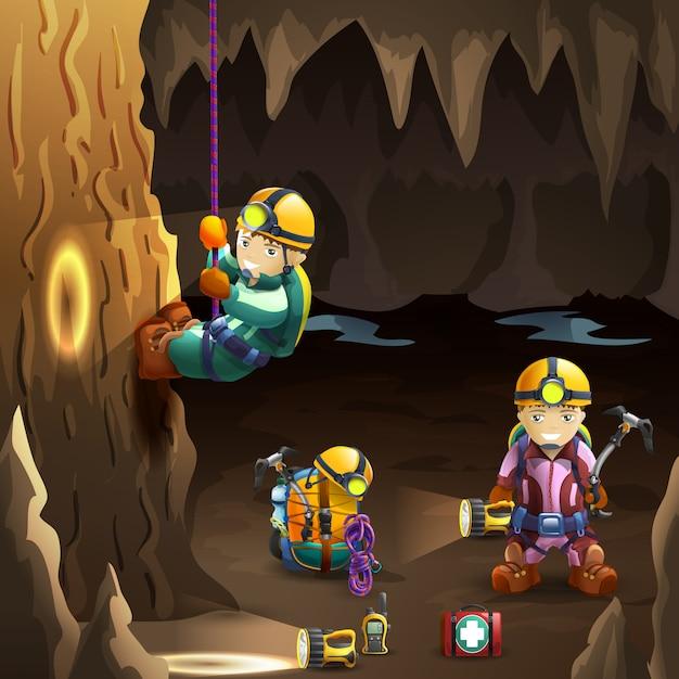 Höhlenforscher im hintergrundplakat der höhle 3d Kostenlosen Vektoren