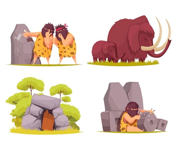 Höhlenmensch-konzeptsatz von primitiven männern, gekleidet in tierfell beschäftigt mit alltäglichen sorgen cartoon Kostenlosen Vektoren