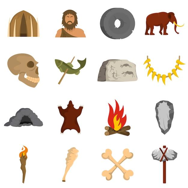 Höhlenmensch symbole festgelegt Premium Vektoren