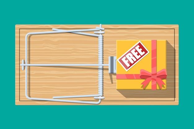 Hölzerne mausefalle mit geschenkbox mit kostenlosem schild, klassische federbelastete stangenfalle. Premium Vektoren