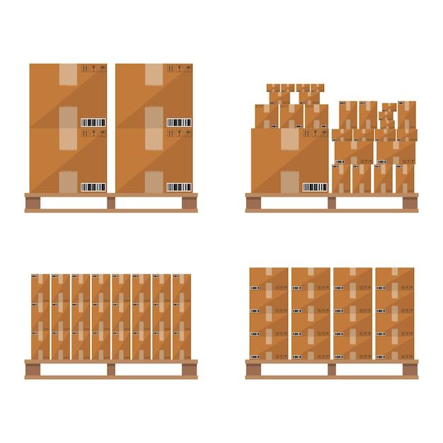 Hölzerne palette des brown-kartonkastens Premium Vektoren