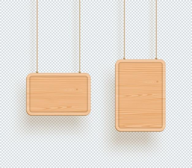 Hölzerne zeichen-einfache leere hängende brett-felder 3d Premium Vektoren