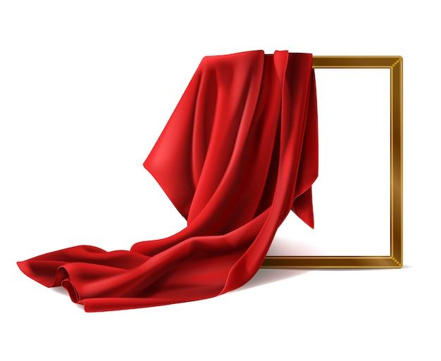 Hölzerner fotorahmen der roten silk stoffabdeckung lokalisiert Kostenlosen Vektoren