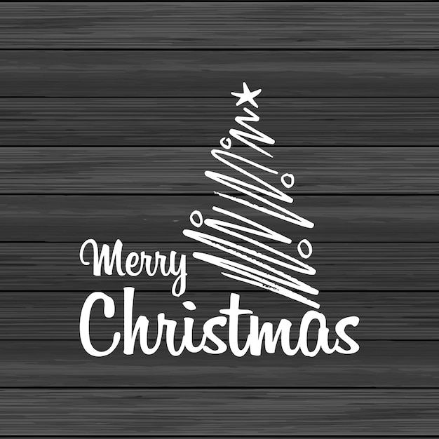 Hölzerner hintergrund der frohen weihnachten mit kreativer beschriftung Kostenlosen Vektoren