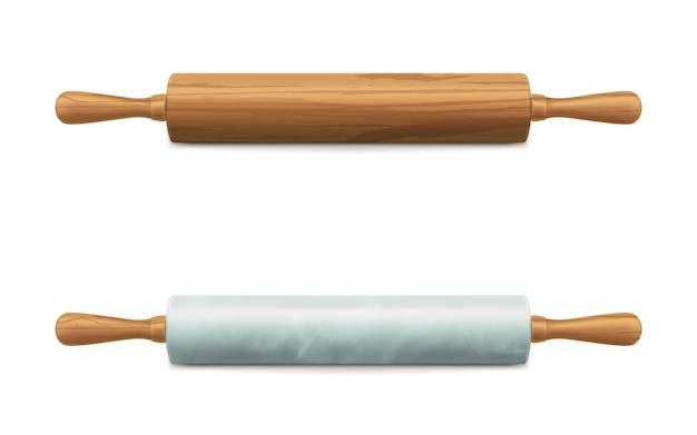 Hölzerner und marmorsteinnudelholzvektor Kostenlosen Vektoren