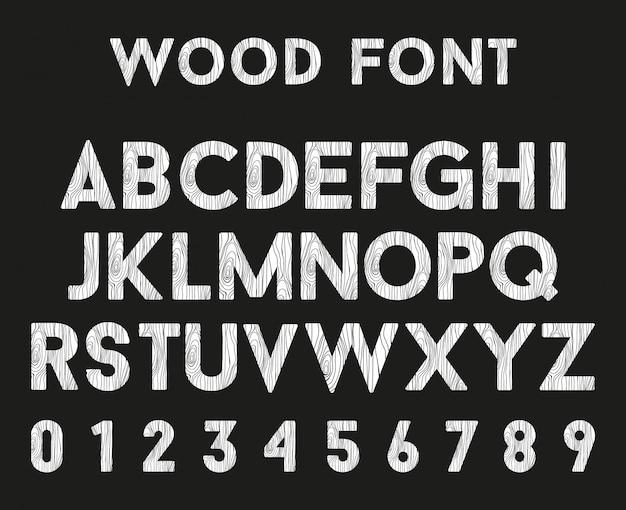 Hölzernes alphabet mit buchstaben und zahlen Premium Vektoren