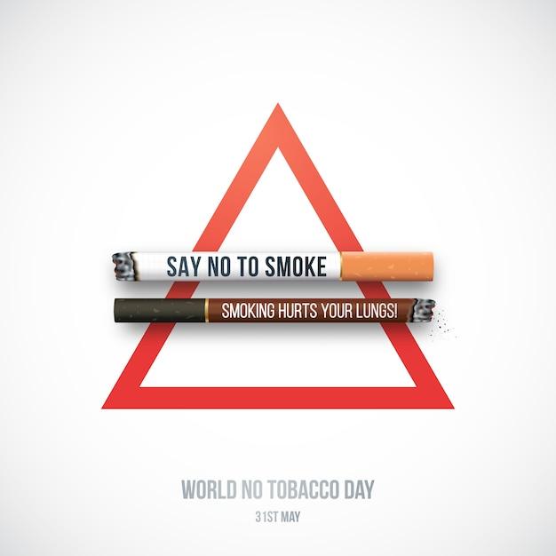 Hören sie mit realistischen weißen und dunklen zigaretten auf zu rauchen. Premium Vektoren