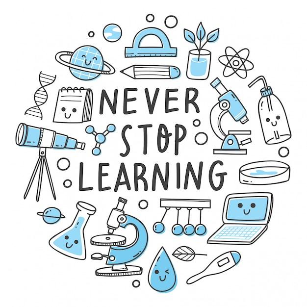 Hören sie nie auf, buchstaben zu lernen. wissenschaftsbezogener gegenstand in der kawaii gekritzelartillustration Premium Vektoren