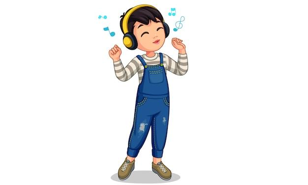 Hörende musik des kleinen jungen Premium Vektoren