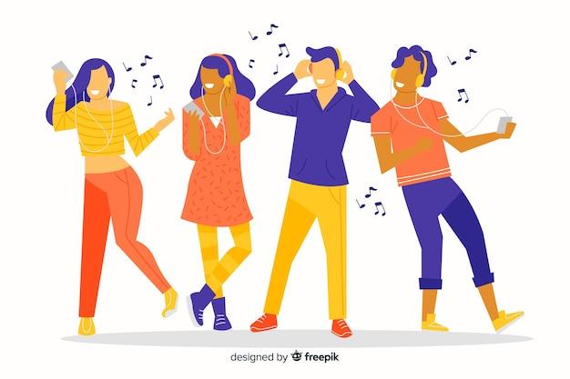 Hörende musik und tanzen des satzes von leuten veranschaulicht Kostenlosen Vektoren