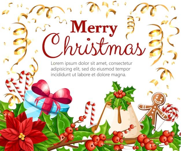 Hohe runde geschenkbox mit blauer schleife. grüner weihnachtsbehälter. illustration auf weißem hintergrund. Premium Vektoren