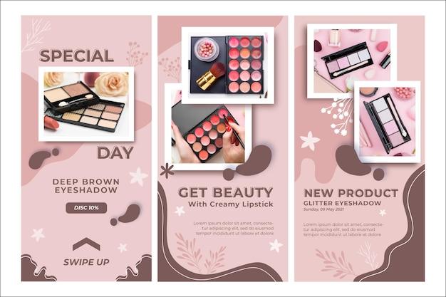 Holen sie sich beauty cosmetics instagram geschichten vorlage Premium Vektoren