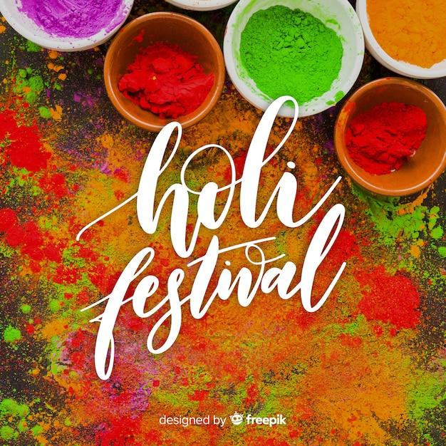 Holi festival beschriftet Kostenlosen Vektoren
