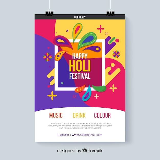 Holi festival bunte poster Kostenlosen Vektoren