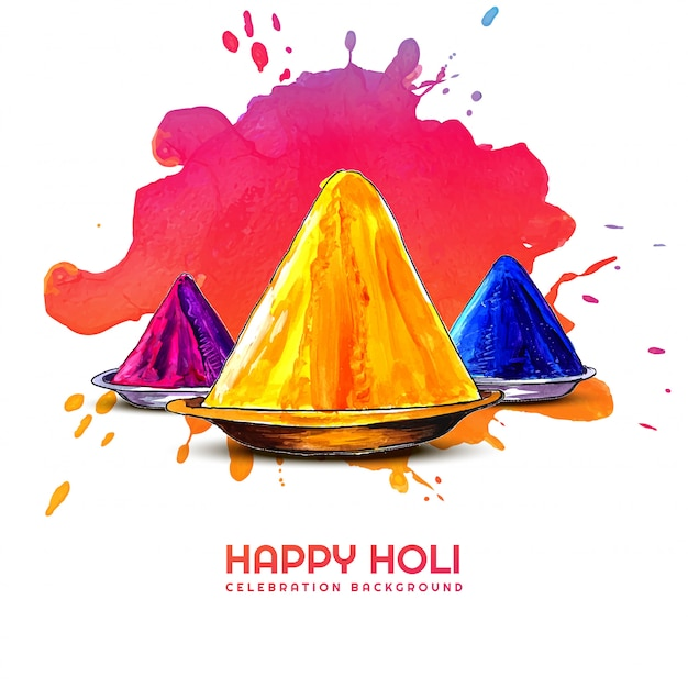 Holi festival der farben feier grußkarte Kostenlosen Vektoren