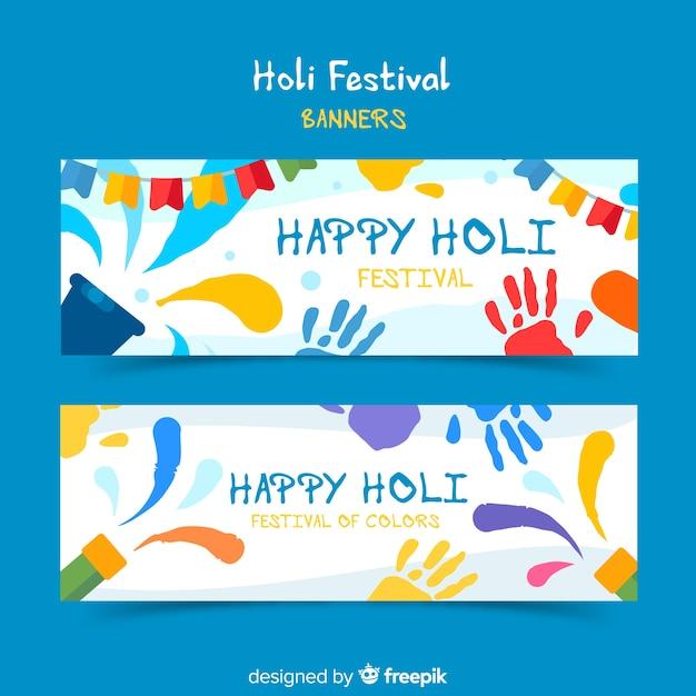 Holi festival elemente banner Kostenlosen Vektoren