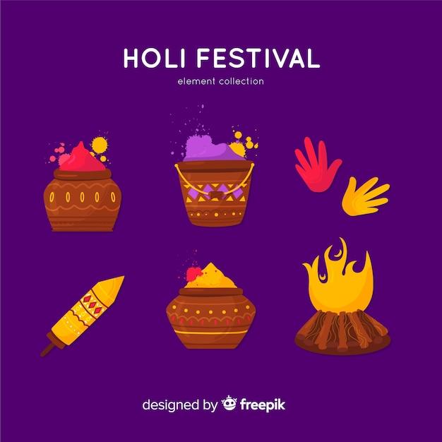 Holi festival elementsammlung Kostenlosen Vektoren