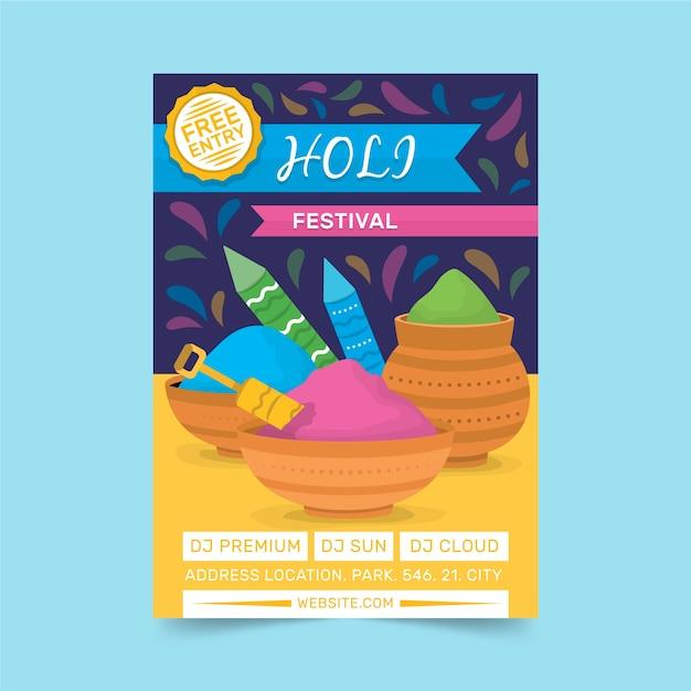 Holi festival flyer plakat vorlage Kostenlosen Vektoren