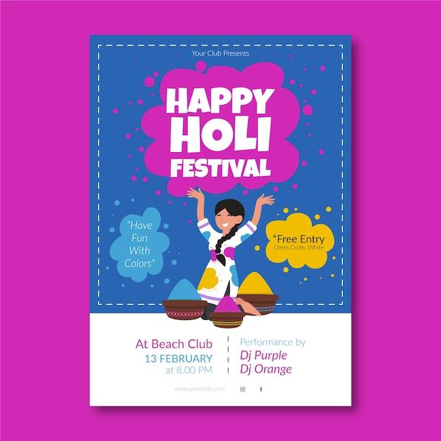 Holi festival flyer vorlage im flat design Kostenlosen Vektoren