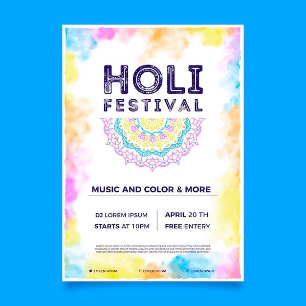 Holi festival flyer vorlage Kostenlosen Vektoren