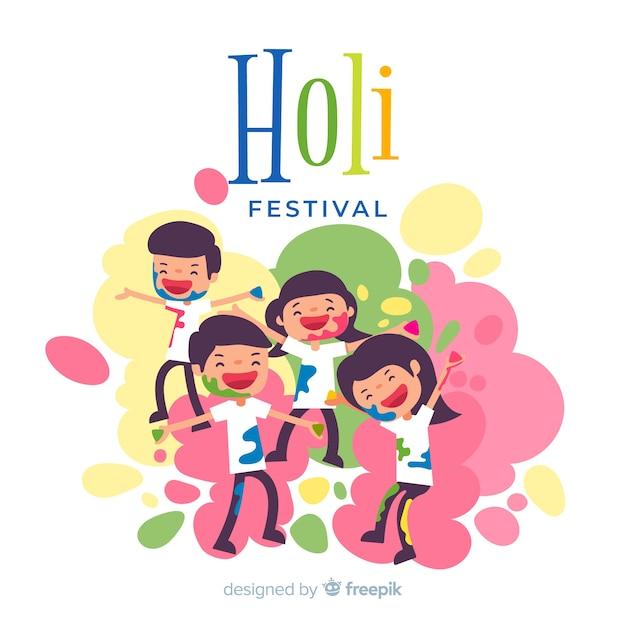 Holi festival-hintergrund der familie Kostenlosen Vektoren
