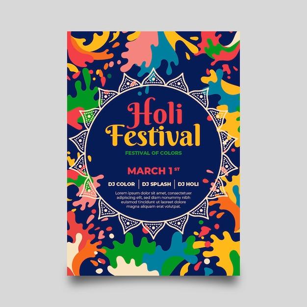 Holi festival plakat vorlage Kostenlosen Vektoren