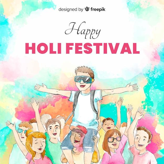 Holi festivalhintergrund der aquarellfreunde Kostenlosen Vektoren