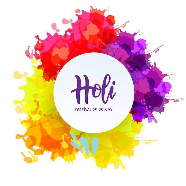Holi frühlingsfest der farben schriftzug element. banner, einladungen und grußkarten. helle flecken mit rundem weißem rahmen Premium Vektoren