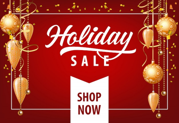 Holiday sale mit festlichem dekorations-coupon-design Kostenlosen Vektoren