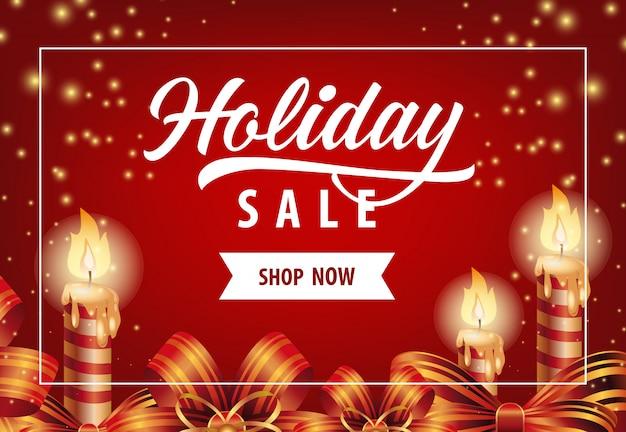 Holiday sale mit kerzen-poster-design Kostenlosen Vektoren