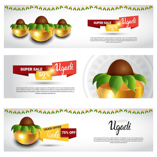 Holiday sale shopping glückliches ugadi gudi padwa hindu new year grußkarte banner set Premium Vektoren