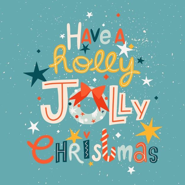Holly jolly weihnachten trendige grußkarte vorlage. Premium Vektoren