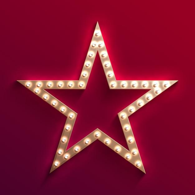 Hollywood-filmstar mit glühbirnenfestzelt. retro goldfilmfeld. casino licht vektor zeichen. stern mit glühlampe für film hollywood, illustration Premium Vektoren