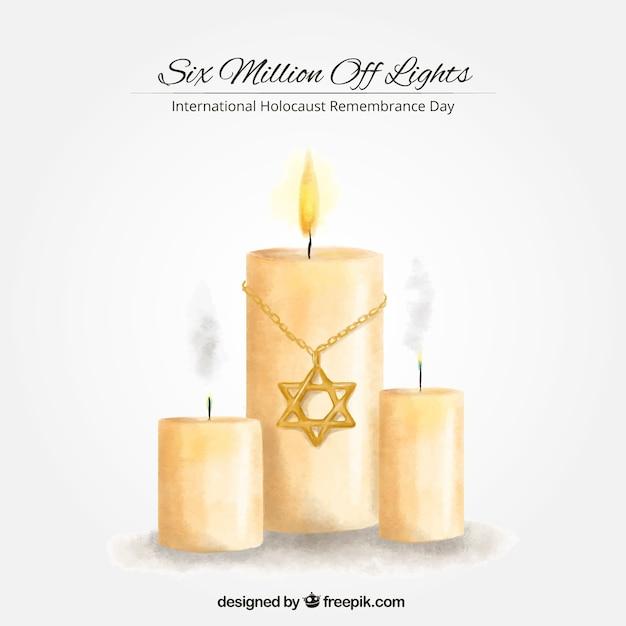 Holocaust-gedenktag, hand kerzen gemalt Premium Vektoren
