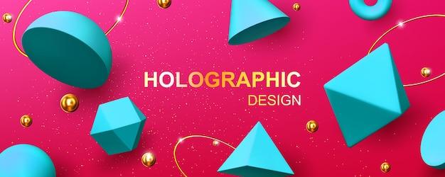 Holographischer hintergrund mit geometrischen 3d-formen, goldenen kugeln, ringen und glitzer. abstraktes design mit türkisfarbenen renderfiguren, kegel, pyramide, oktaeder und torus auf rosa hintergrund Kostenlosen Vektoren